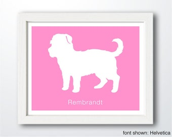 Personalized Morkie Silhouette Print with Custom Name