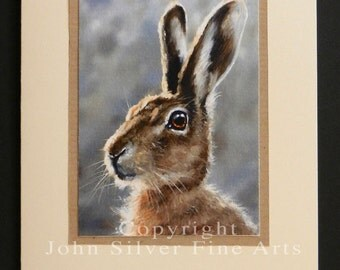 Wild Hare Portrait Hand Made Greetings Card. From an Original Painting by Award Winning Artist JOHN SILVER. GCHA002