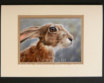 Wild Hare Portrait Hand Made Greetings Card. From an Original Painting by Award Winning Artist JOHN SILVER. GCHA003