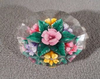 Vintage Lucite Multi Color Reverse Painted Flower Cluster Design Pin Brooch     KW
