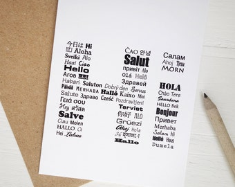 Hi card hello in many languages typography any occasion