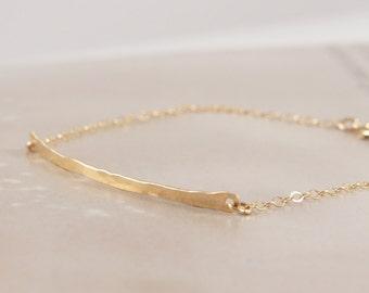 14K Gold Filled Minimalist Thin Hammered Bar Bracelet / Thin Chain / GF Fill / Simple / Simplistic / Layered