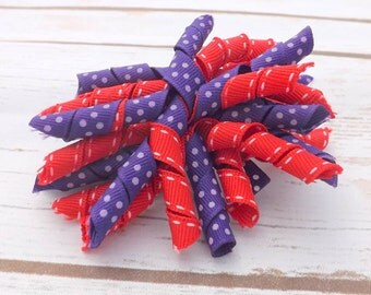 Korker on hair a barrette - red and purple, hair clip, hair accessories