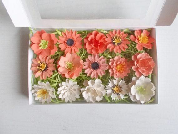Orange plantable paper flower garden lover gift set like this item mightylinksfo Choice Image