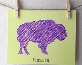 Buffalo NY Print - Whimsical Scribbled Buffalo Print - Buffalo, NY graphic print -  8x10 print