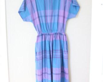 vintage 1980s purple & blue plaid pocket dress