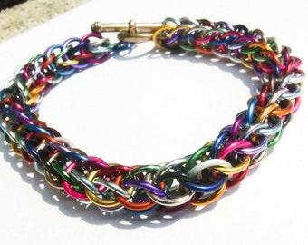 Multicolour Chainmail Bracelet - Multicolour Bracelet, Rainbow Bracelet Multicolour Jewelry Rainbow Chainmail Rainbow Jewelry