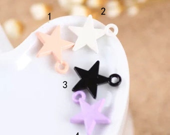 10 pcs of multicolour five-pointed star  charm pendants 12x15mm