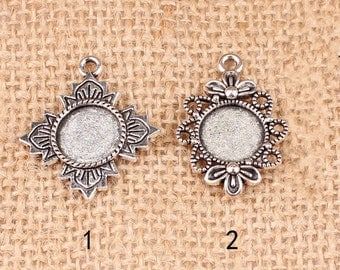 Cabochon Base Settings-10pcs antique silver circular base flower cameo charm pendants 12mm