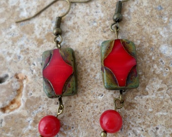 Antiqued brass coral earrings