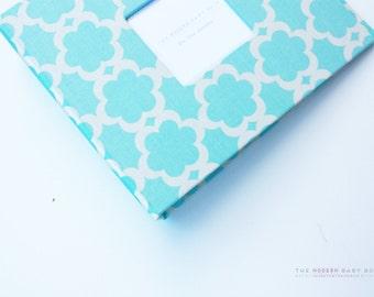 Free shipping. MODERN Baby Book // Kumari Blue Teal Tarika Cover // baby book. baby keepsake. toddler keepsake. toddler book