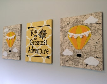 Hot Air Balloon Adventure Nursery Art, Set of 3 11x14 Canvases, Gender Neutral Nursery, Grey and Yellow Nursery, Nature Nursery Wall Art