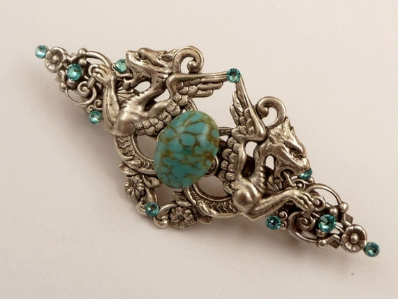 Large hair clip in turquoise silver with dragon motif, Fantasy Hair Jewelry, Barrette Medieval, LARP hair jewelry, Gothic Hair Accessories