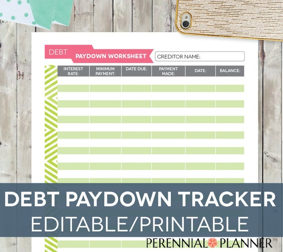 Debt Tracker Worksheet Editable Printable INSTANT DOWNLOAD – Debt Worksheet