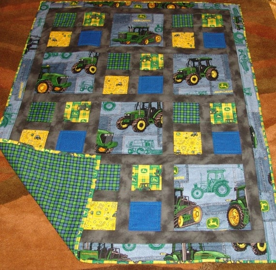 John Deere Quilt Patterns : Lap baby quilt with john deere themed fabric by