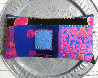 Vintage Embroidery Pillow Boho hot Pink Patchwork Electric Blue Cushion 30x50 cm 12x20 inches
