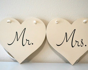 AS is + READY to SHIP!  Mr. and Mrs. hanging hearts 8x8