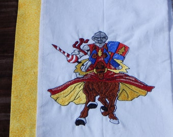 Knight Embroidered Pillowcase