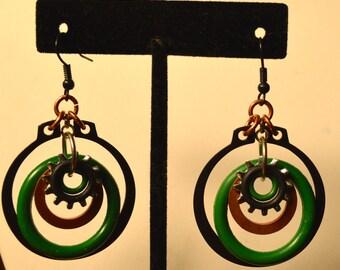 """Green, Copper, Black Hardware and Gear """"Hoop"""" Earrings"""