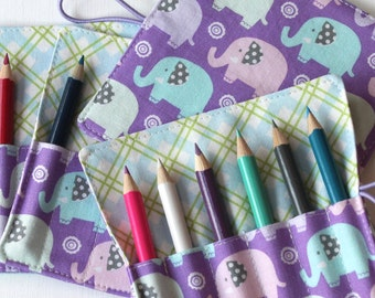 Mini Pencil or Crayon Roll - Tiny elephants - perfect girls party favor - lilac, white, pale blue - art party
