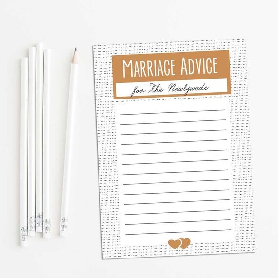 Printable Marriage Advice cards--brown/gold--advice for the Newlyweds