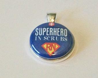 Nurse RN Superhero In Scrubs Round Silver Pendant