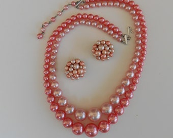 Vintage Beaded Necklace and Earrings - Peach Plastic Beads - 2 Strands