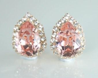 Rose gold blush clip on earrings,rose gold earrings,blush earrings,blush wedding jewelry,blush clipon earrings,clip on earrings,blush clip