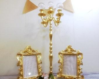 "Wedding Set One Tall Wedding Candelabra With Globes 26"" 2 5x7 Ornate Baroque Frames"