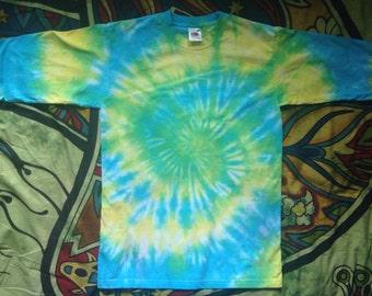 Rainbow Swirl Tie Dye Long Sleeve T-shirt - Size S (UK 10/12) Chakra Yoga