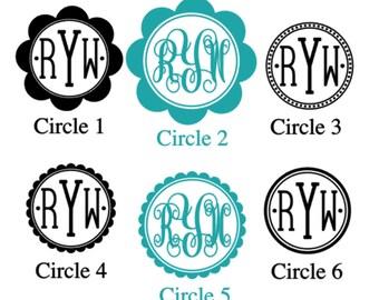 Vinyl Monogram Decals Stickers - Custom Decal, Car Decal, Car Initials Vinyl Initials, Vinyl Lettering (Various Sizes)