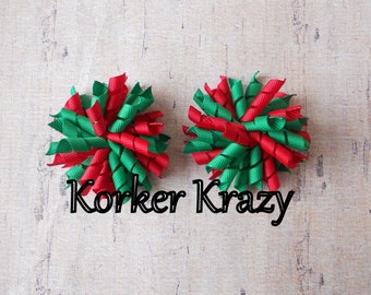 Red and Emerald Mini Korker Bows