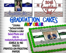 2015 Graduation Cake toppers, edible sugar sheets decal sticker transfer picture tops photo PHOTOGRAPH image paper ideas custom pinterest