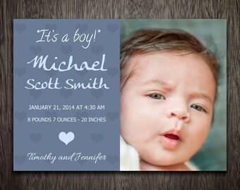 Birth Announcement Templates - Baby Announcement Templates - Baby Boy - Photography Photoshop Templates Postcard Card BA008