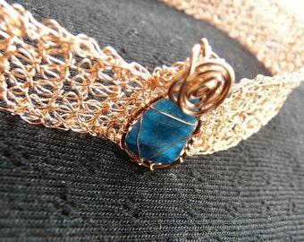Copper necklace. copper choker.  blue necklace. Gemstone necklace. brown stone necklace. metal choker. Crochet metal choker. Brown choker.