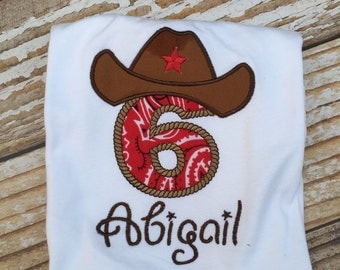 Appliqued Cowboy birthday shirt