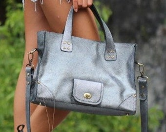 "Bag ""Handycity"" cowhide leather handbag silver"