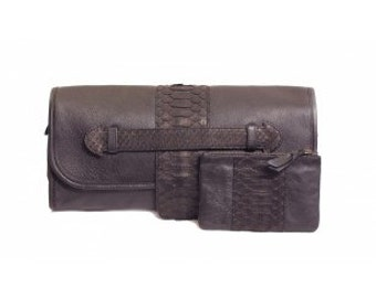 "Bag pouch baguette vintage and classic ""Coverhand"" lamb and balance black python!"