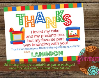 Bounce House Party Thank You Card - Jump House, Bounce Party Thank You cards - Invitation also available