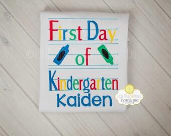 First Day Of Kindergarten Boys Shirt, First day of School Boys shirt, First day of school shirt, Kindergarten, Pre-school