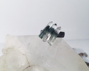Triple Green Ghost Quartz Adjustable Ring