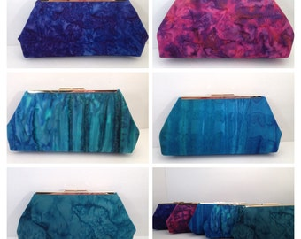 Purple, Teal, magenta Handpainted Print Clutch Purse with Silver Finish Snap Close Frame, Bridesmaid, wedding, Special Occasion