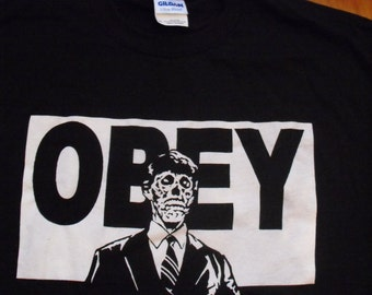 THEY LIVE obey SHIRT scary horror zombies