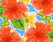 Preppy Coral Hibiscus digital paper - hibiscus flower, preppy digital paper, tropical digital paper, preppy prints, watercolor flowers