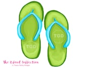 Preppy Green and Turquoise Flip Flop Clip Art - Original Art, flip flop clip art, preppy clip art, The Island Collection