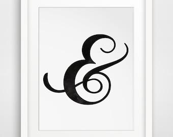 Ampersand Art, And Print, And Symbol, Downloadable, Ampersand Prints, Symbol Art, Cursive, Calligraphy Art, Classical Prints
