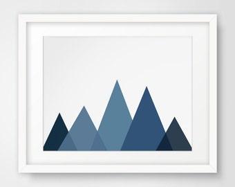 Printable Artwork, Boys Wall Art, Nursery Room Decor, Blue Decor, Navy Artwork, Mountain Poster, Nursery Poster, Digital Prints