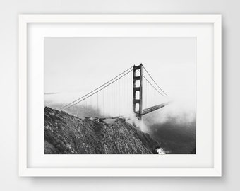 San Francisco Art, Golden Gate Bridge Art, California Wall Decor, Black and White Photography, Printable Art, Downloadable Photography