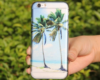 Crystal Transparent Sea Beach Palm Tree iPhone 6/6s Case,iPhone SE/5/5c/5s Case,Galaxy S6 Edge Case,Galaxy S5/S6 Case,Abstract Watercolor