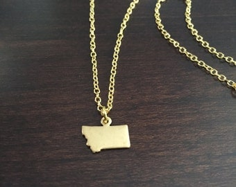 Montana Necklace, Montana, gold Montana necklace, Montana pendant, Montana jewelry, state necklace, state jewelry, state pendant, necklace